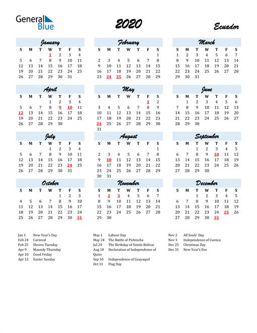 Image of 2020 Calendar in Script for Ecuador