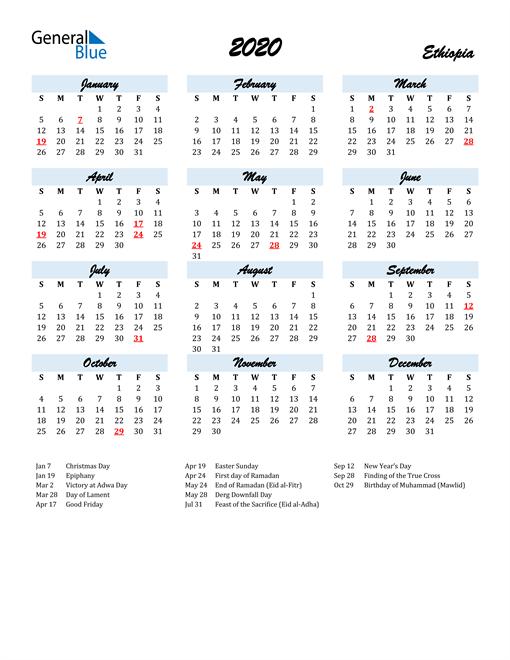 Image of 2020 Calendar in Script for Ethiopia