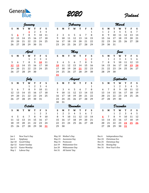 Image of 2020 Calendar in Script for Finland