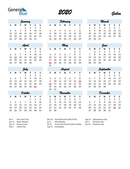 Image of 2020 Calendar in Script for Gabon