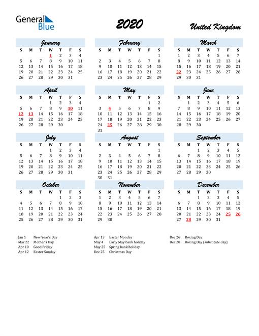 2020 Calendar for United Kingdom with Holidays