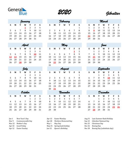 2020 Calendar for Gibraltar with Holidays