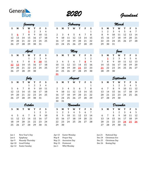 2020 Calendar for Greenland with Holidays