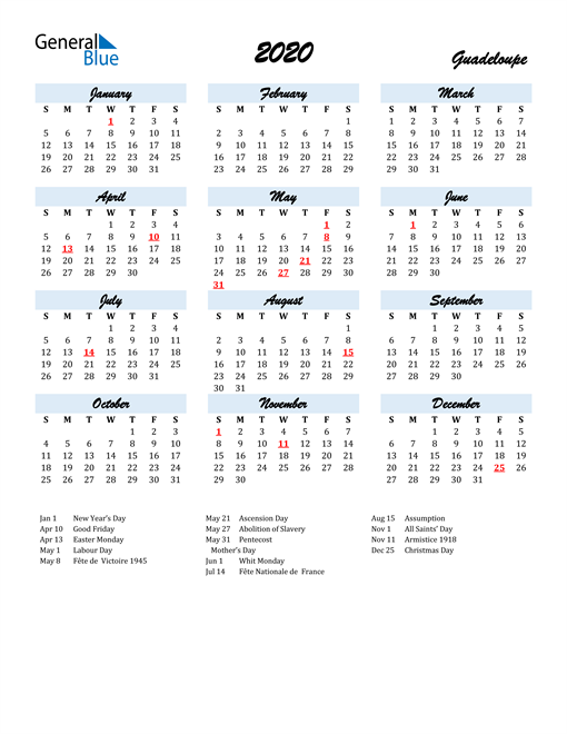 2020 Calendar for Guadeloupe with Holidays