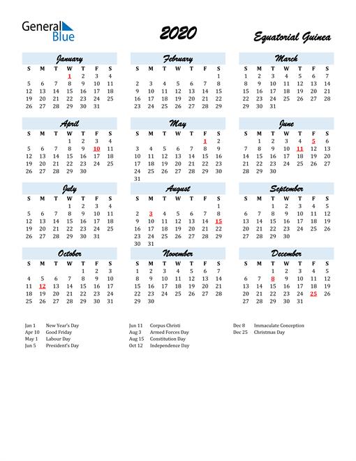 2020 Calendar for Equatorial Guinea with Holidays