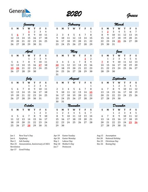 2020 Calendar for Greece with Holidays