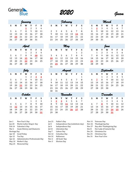 2020 Calendar for Guam with Holidays
