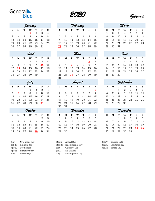 Image of 2020 Calendar in Script for Guyana