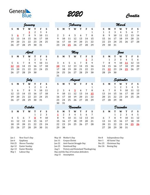 Image of 2020 Calendar in Script for Croatia