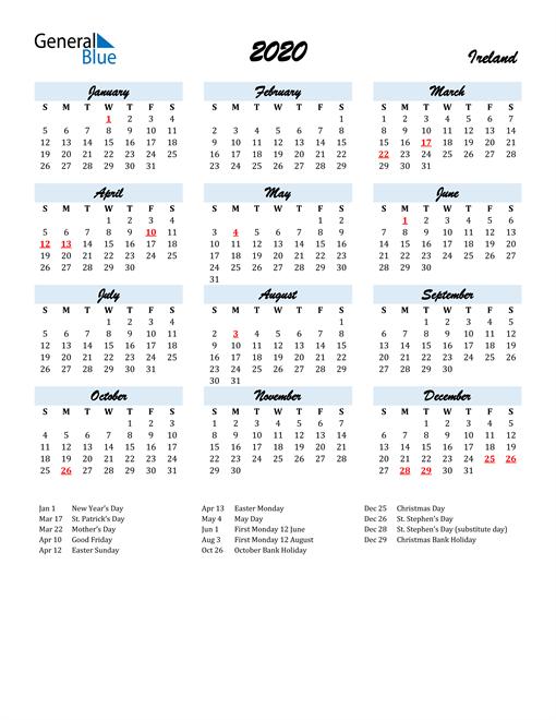 Image of 2020 Calendar in Script for Ireland