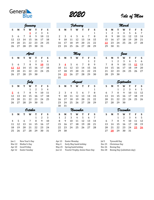 2020 Calendar for Isle of Man with Holidays
