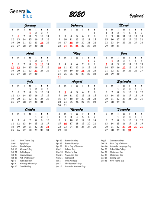 2020 Calendar for Iceland with Holidays