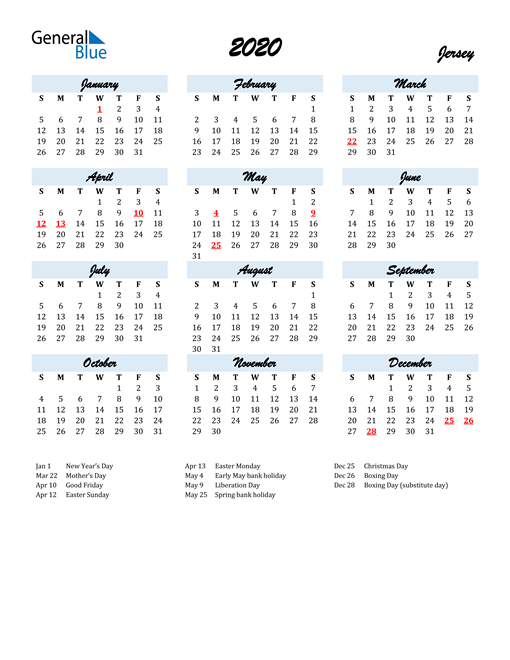 2020 Calendar for Jersey with Holidays