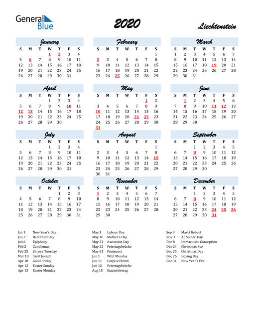 2020 Calendar for Liechtenstein with Holidays