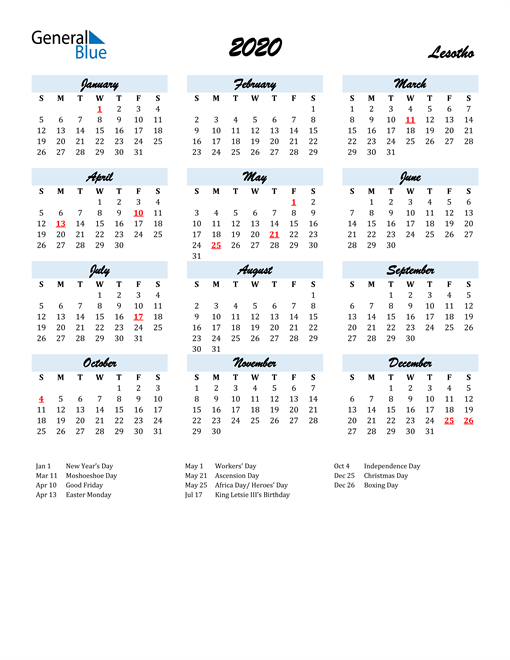 Image of 2020 Calendar in Script for Lesotho