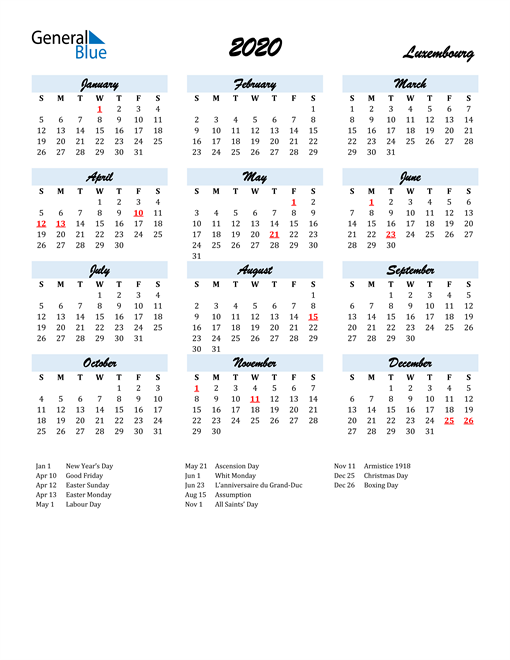 Image of 2020 Calendar in Script for Luxembourg