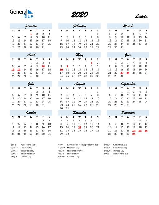2020 Calendar for Latvia with Holidays