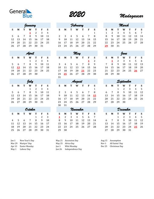 2020 Calendar for Madagascar with Holidays