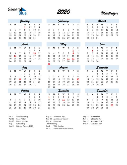 2020 Calendar for Martinique with Holidays