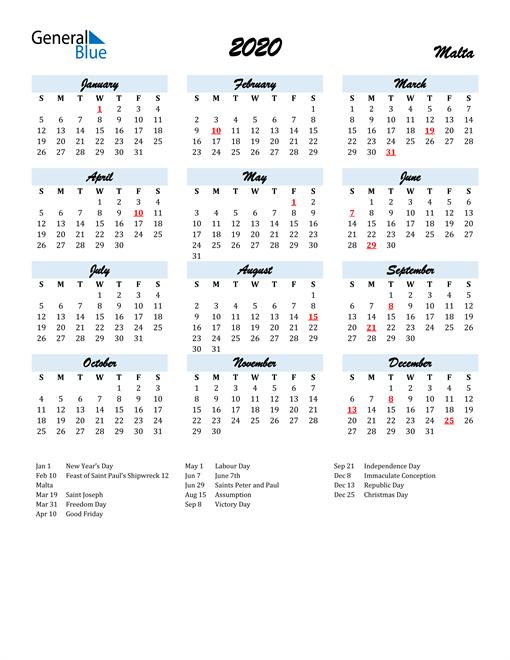 Image of 2020 Calendar in Script for Malta