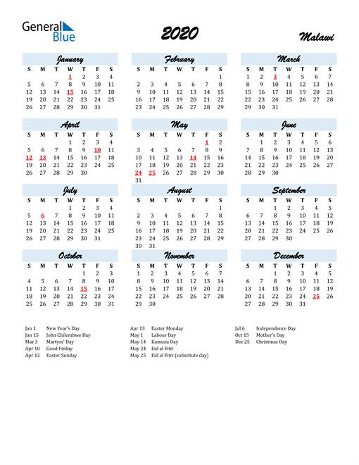 Image of 2020 Calendar in Script for Malawi