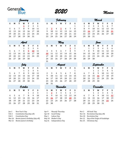 Image of 2020 Calendar in Script for Mexico