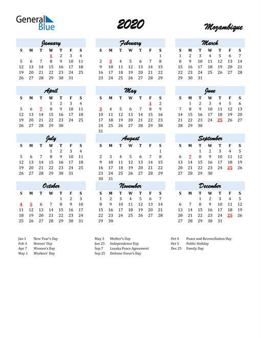 Image of 2020 Calendar in Script for Mozambique