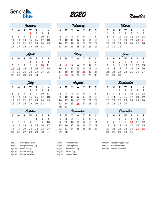 2020 Calendar for Namibia with Holidays