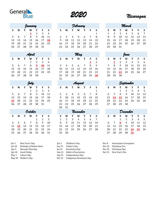 2020 Calendar for Nicaragua with Holidays