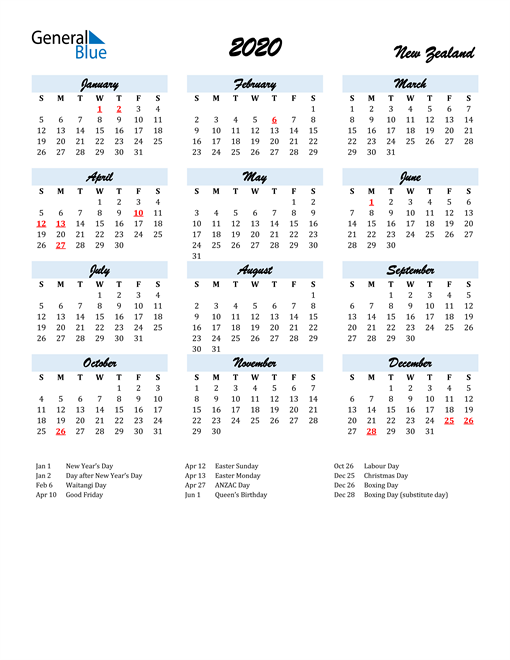 Image of 2020 Calendar in Script for New Zealand
