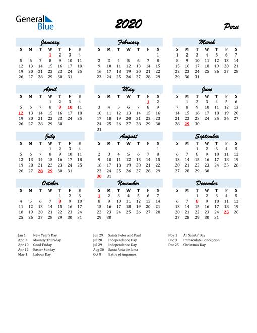 2020 Calendar for Peru with Holidays