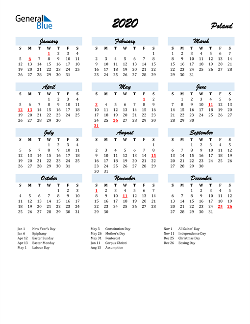 Image of 2020 Calendar in Script for Poland