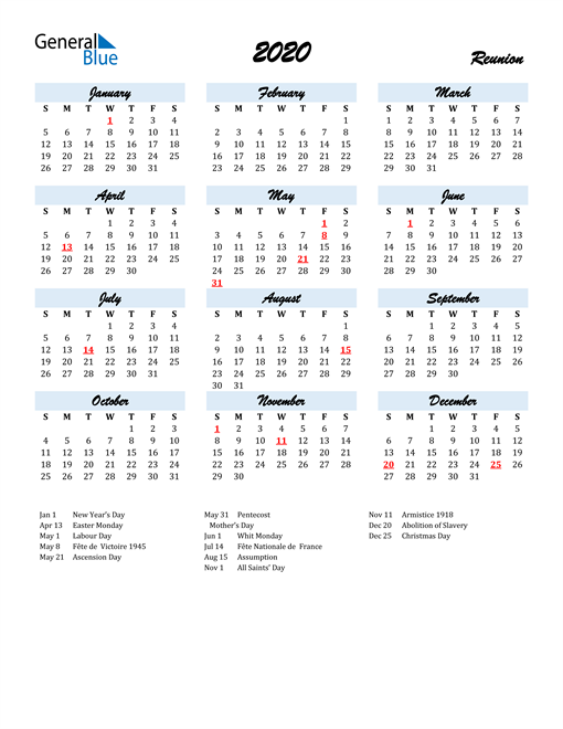 Image of 2020 Calendar in Script for Reunion