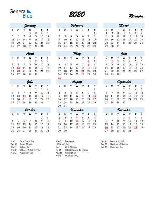 2020 Calendar for Reunion with Holidays