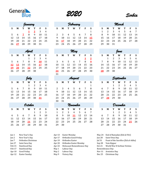 Image of 2020 Calendar in Script for Serbia