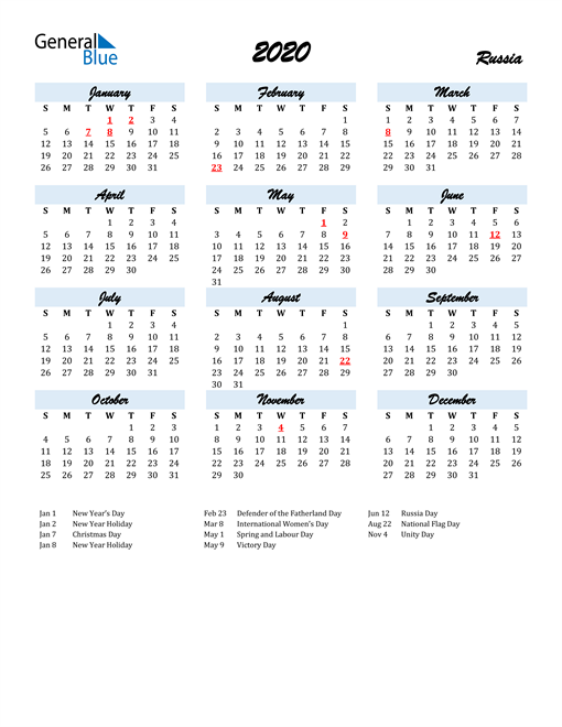 2020 Calendar for Russia with Holidays