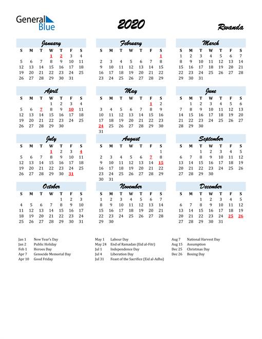 2020 Calendar for Rwanda with Holidays