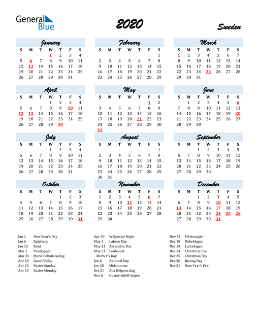 Image of 2020 Calendar in Script for Sweden