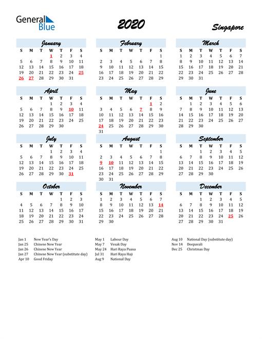 Image of 2020 Calendar in Script for Singapore