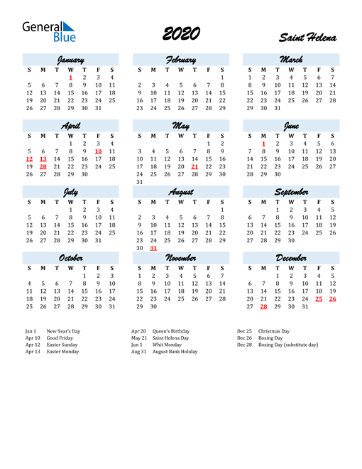 Image of 2020 Calendar in Script for Saint Helena