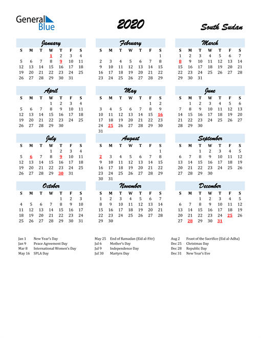 2020 Calendar for South Sudan with Holidays