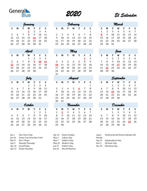 Image of 2020 Calendar in Script for El Salvador