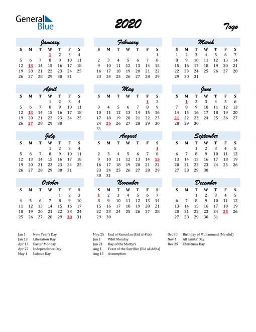 2020 Calendar for Togo with Holidays