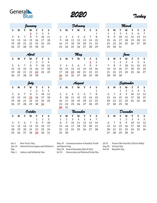 2020 Calendar for Turkey with Holidays