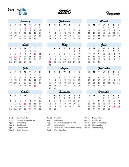 2020 Calendar for Tanzania with Holidays