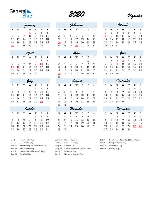 Image of 2020 Calendar in Script for Uganda