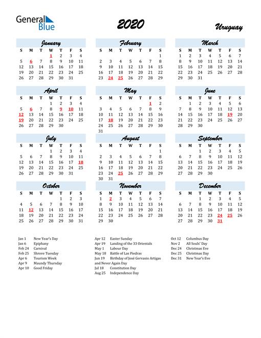 Image of 2020 Calendar in Script for Uruguay