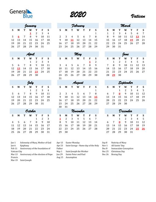 Image of 2020 Calendar in Script for Vatican