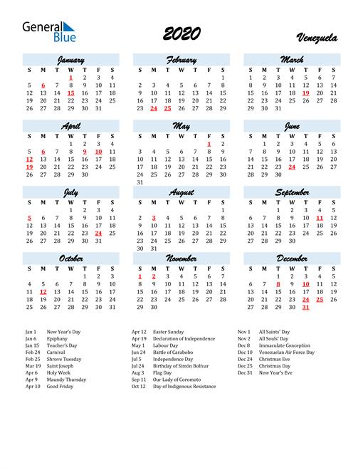 2020 Calendar for Venezuela with Holidays