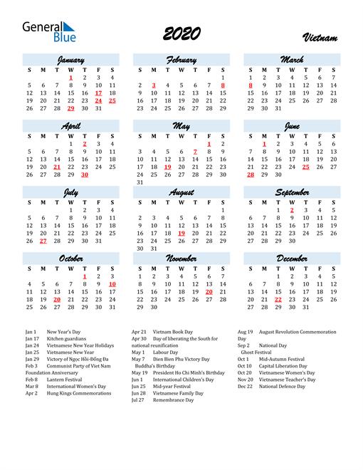 2020 Calendar for Vietnam with Holidays